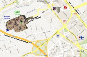 Ubicación de la urbanización y la zona del jardín okupa