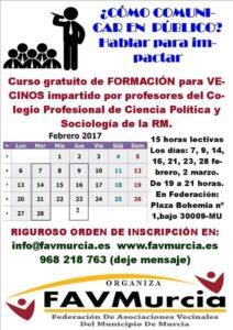 2017-01-30 Cartel Curso formación hablar en público - FAVMurcia