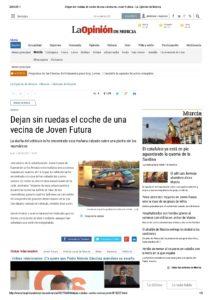 2017-04-04 Dejan sin ruedas el coche de una vecina de Joven Futura - La Opinión de Murcia