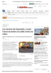 2017-04-19 Los vecinos de Espinardo y Joven Futura se echan a la calle contra los robos - La Opinión de Murcia