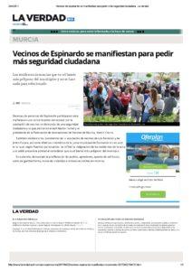 2017-04-22 Vecinos de Espinardo se manifiestan para pedir más seguridad ciudadana - La Verdad