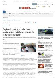 2017-04-24 Espinardo sale a la calle para quejarse por quinta vez contra «la falta de seguridad» - La Opinión de Murcia