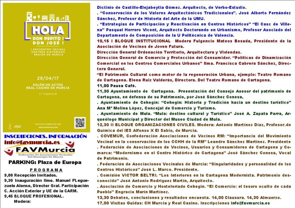 Programa I Encuentro Centros Históricos de la Región de Murcia (modificado)