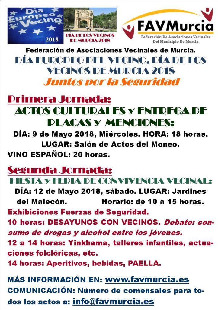 Cartel Día Vecinos 2018 - FAV Murcia