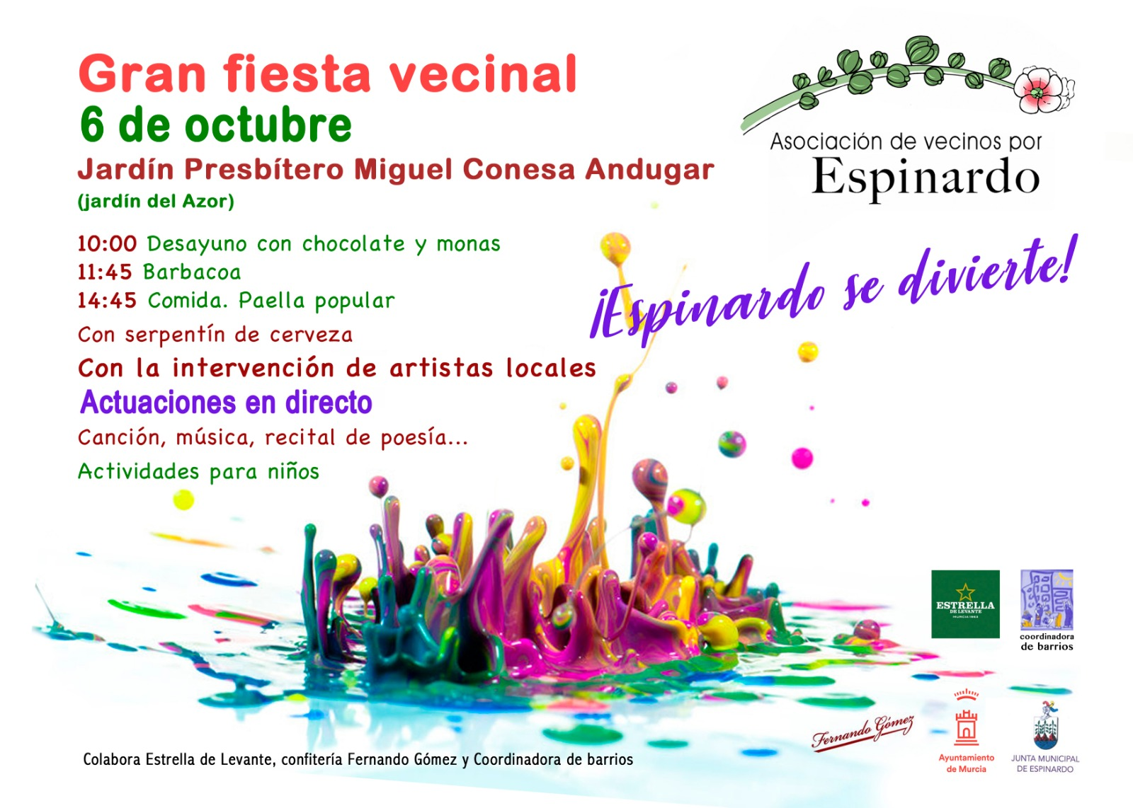 2018-10-06 Cartel Gran Fiesta Vecinal - Asociación de Vecinos por Espinardo