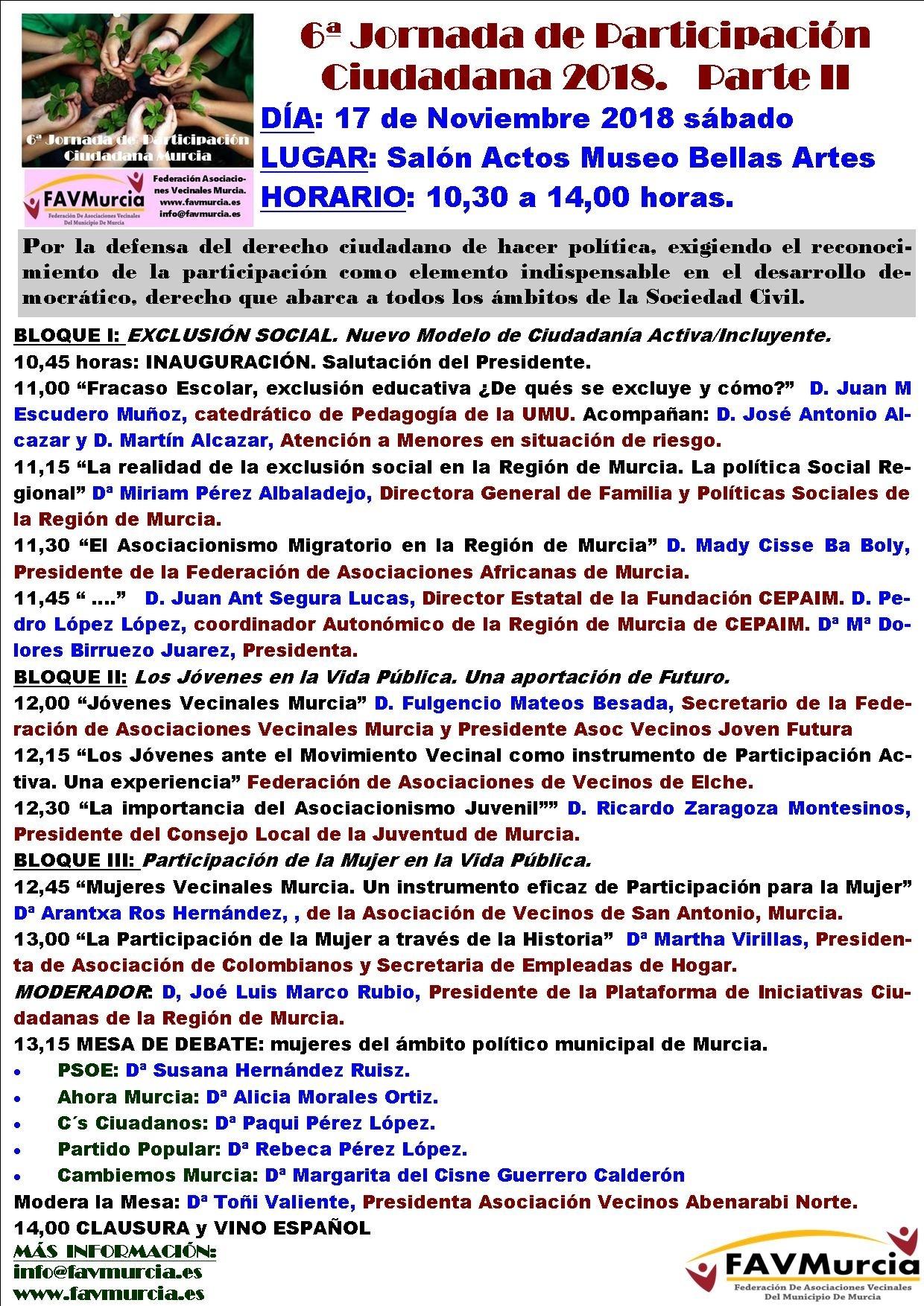 2018-11-17 Programa 6ª Jornadas Participación vecinal, MUBAM Parte II