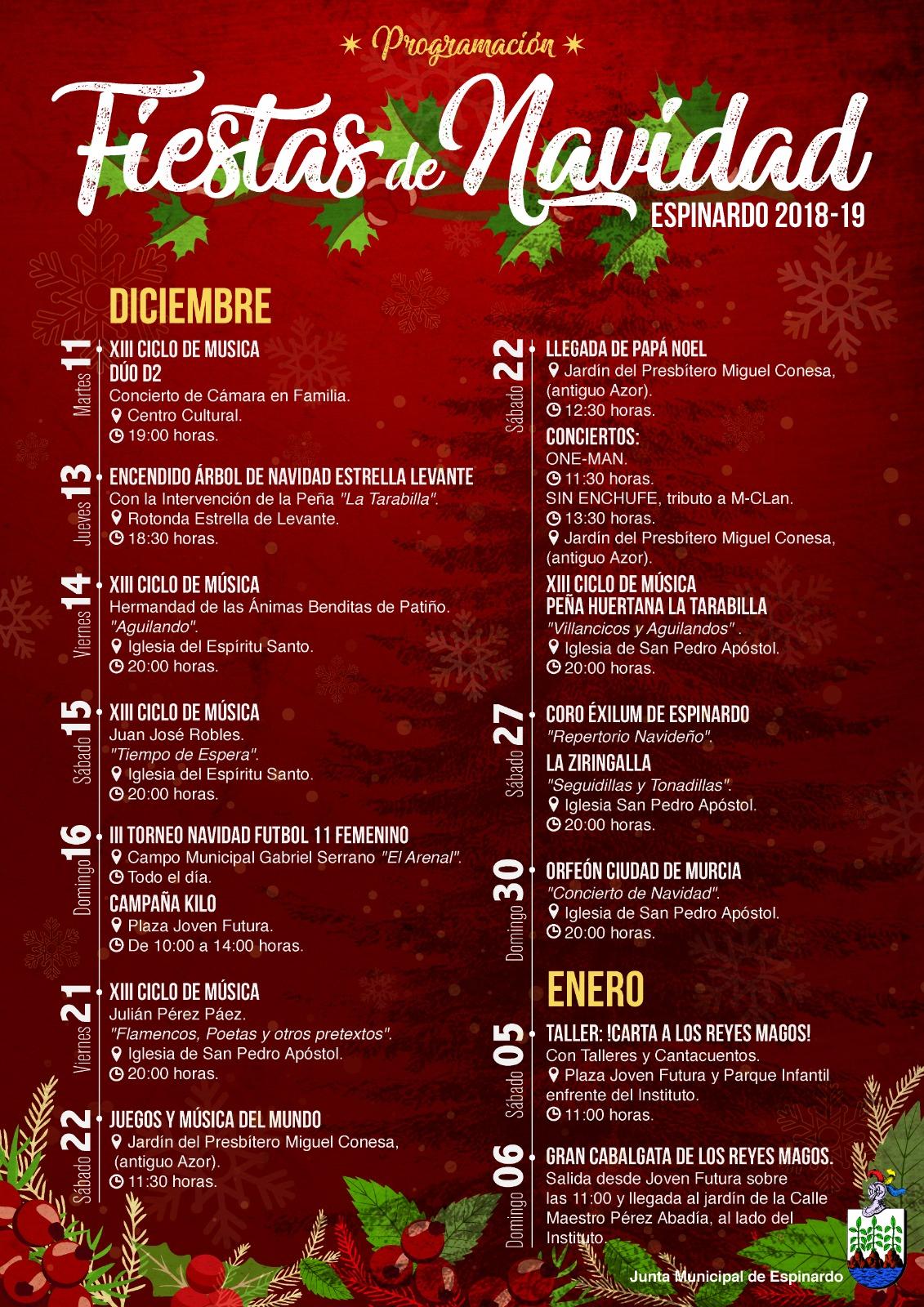 Cartel Actividades en Espinardo Navidad 2018