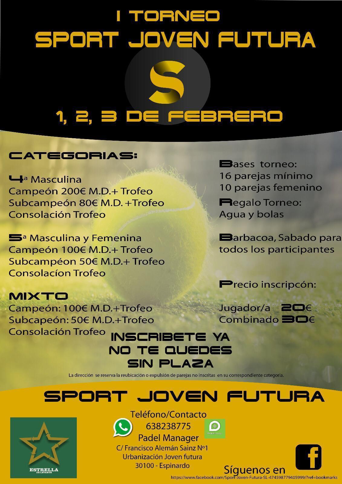 Cartel I Torneo Sport Joven Futura 1,2 y 3 febrero 2019 - Espinardo - Murcia