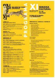 2019-02-11 al 15 Tríptico con Programa de la XI Semana Cultural 18-19 - IES José Planes - Espinardo - B
