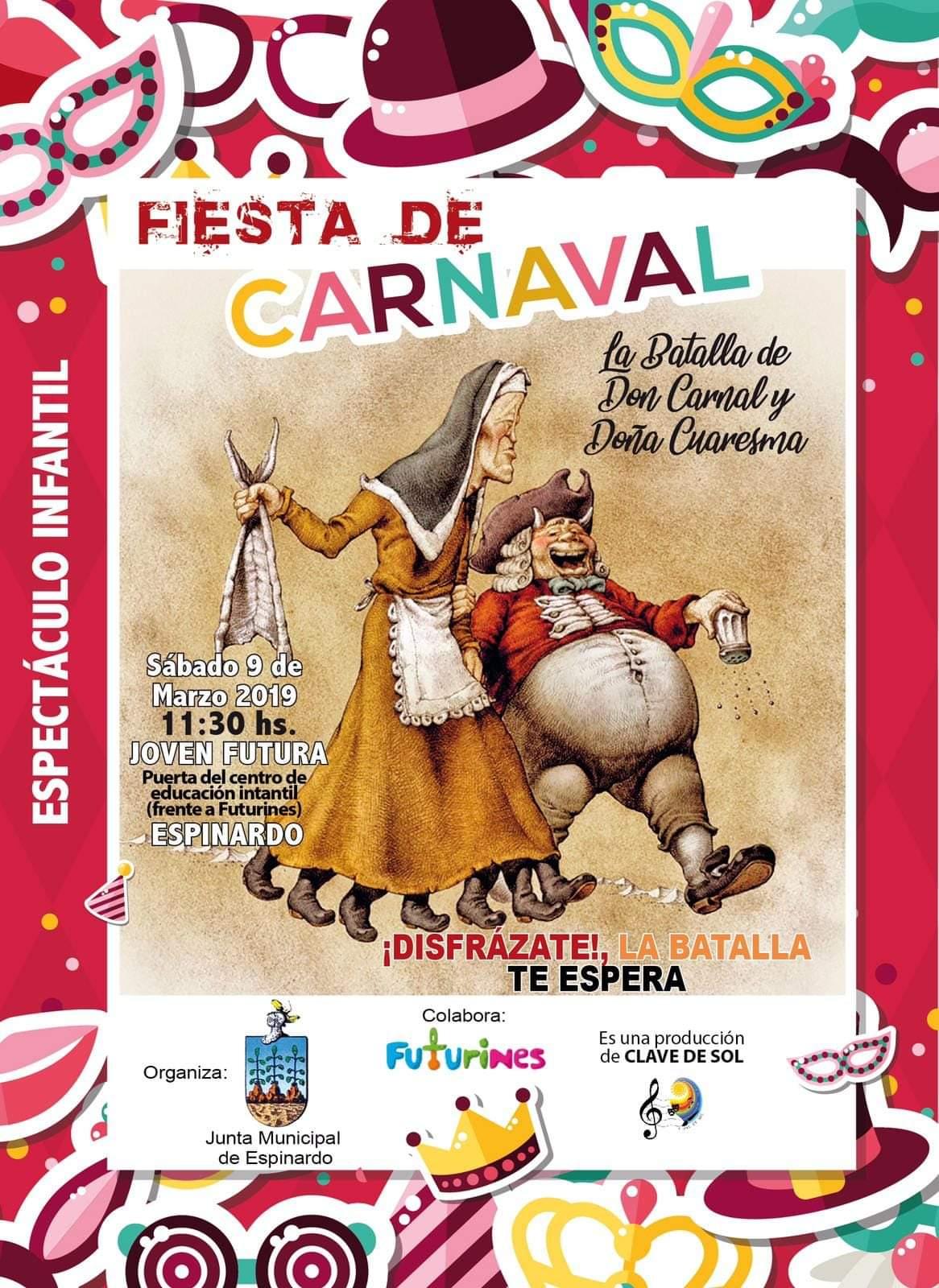 Cartel Fiesta de Carnaval 2019 organizado por la Junta Municipal de Espinardo en Joven Futura