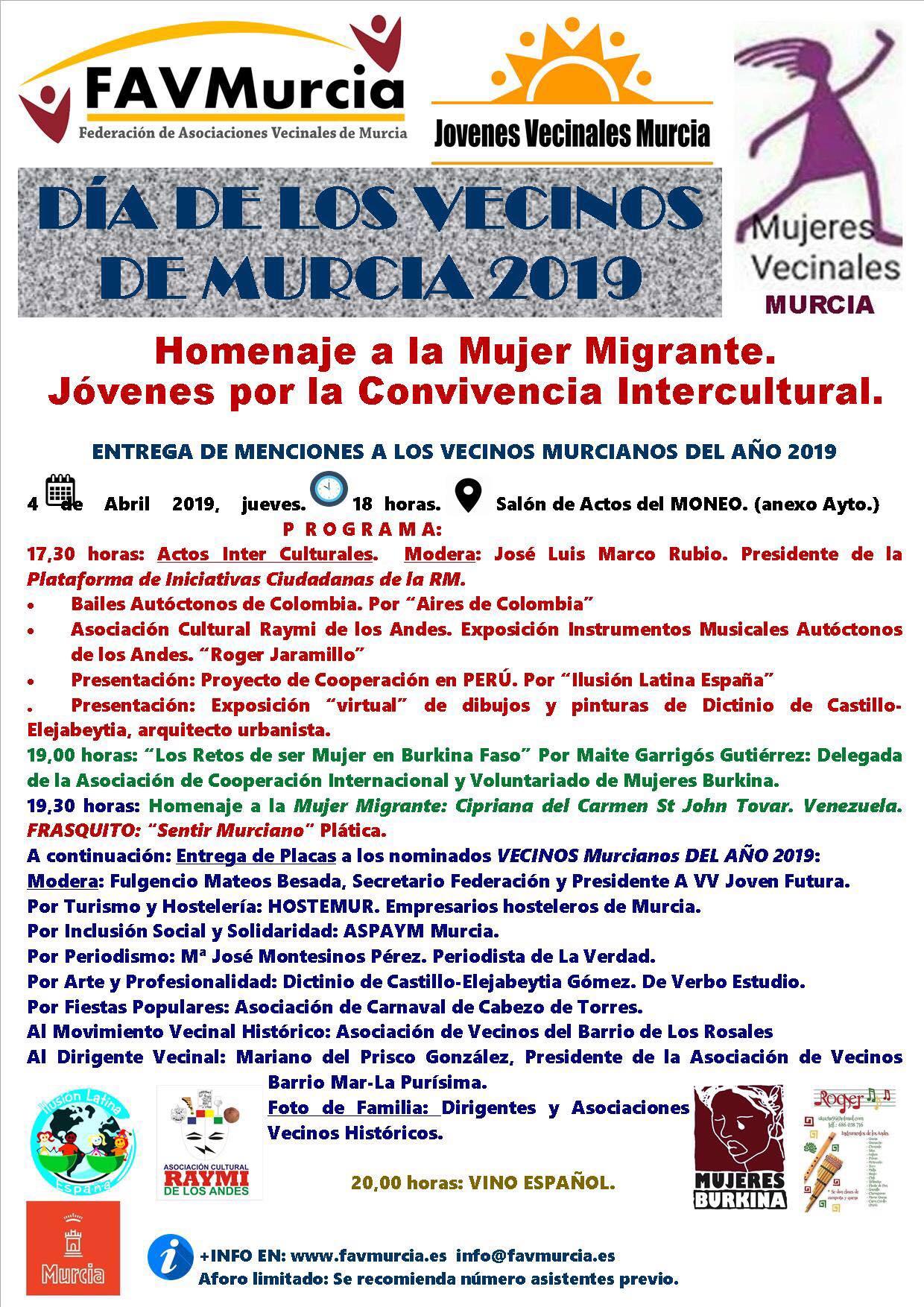 2019-04-06 Actividades Día del vecino - Homenaje a la mujer migrante - FAVMurcia