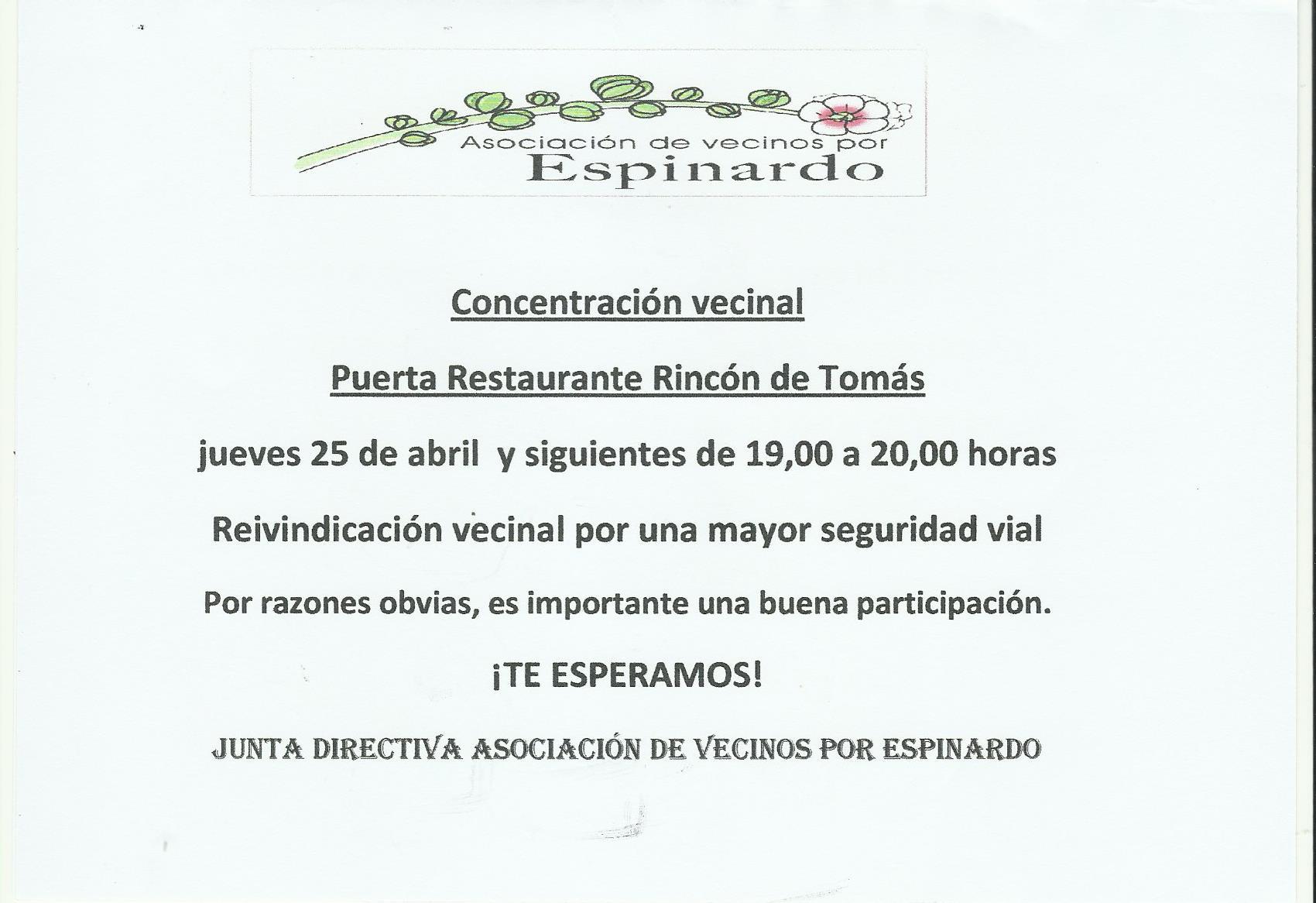 Asociación de Vecinos por Espinardo - Cartel Concentración 25-04-2019 Seguridad Vial
