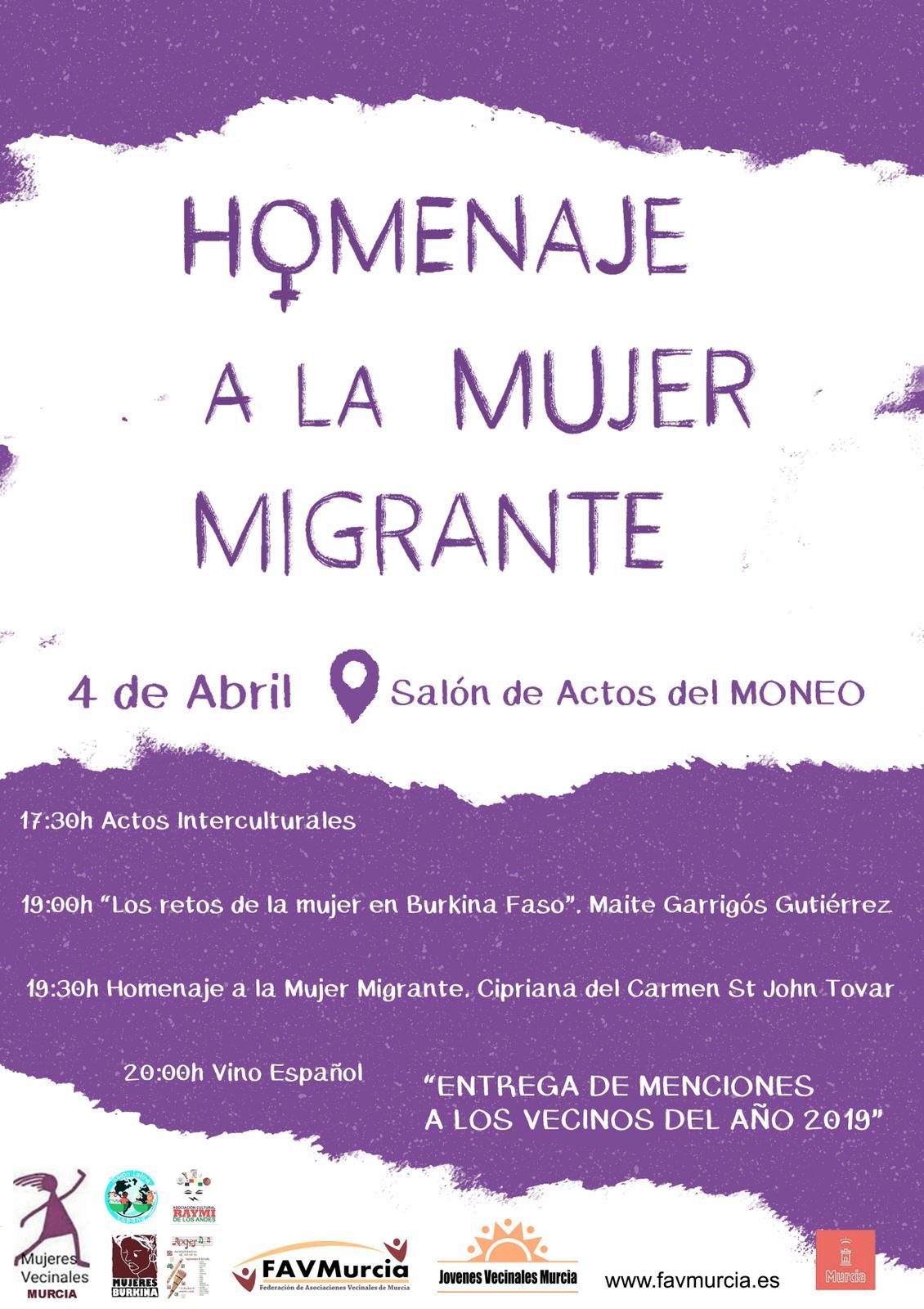 2019-04-04 Cartel Día del vecino - Homenaje a la mujer migrante - FAVMurcia