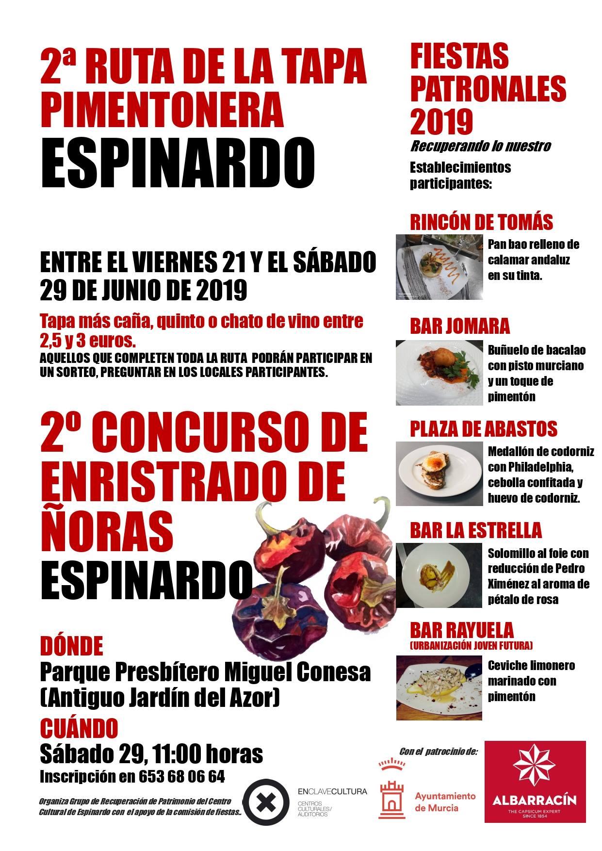 Cartel 2 ruta de la tapa pimentonera en Espinardo