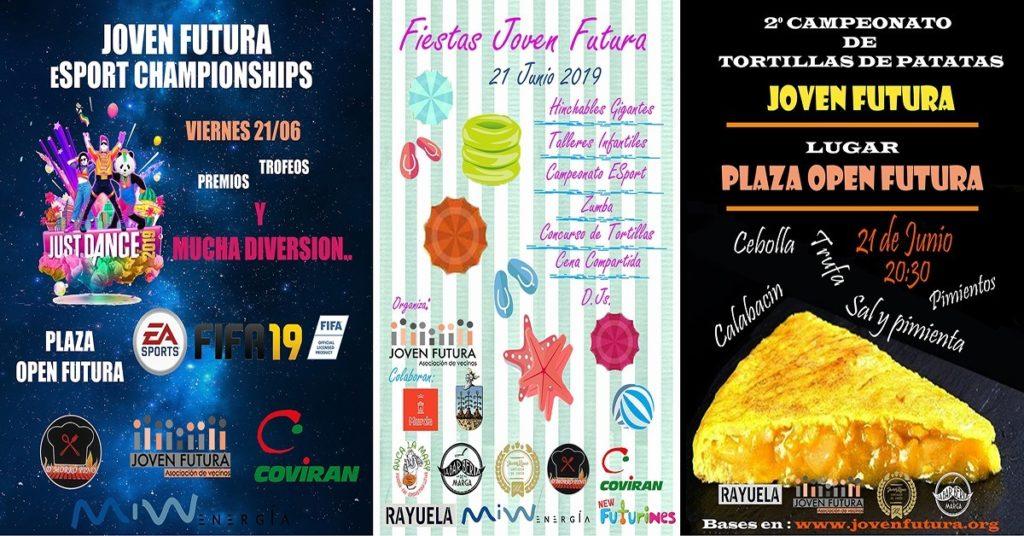 Tres carteles juntos Fiestas Espinardo en Joven Futura 21/6/19