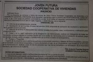 Convocatoria Asamblea Cooperativa Joven Futura 2019 aparecida en La Opinión de Murcia el 8/6/19.