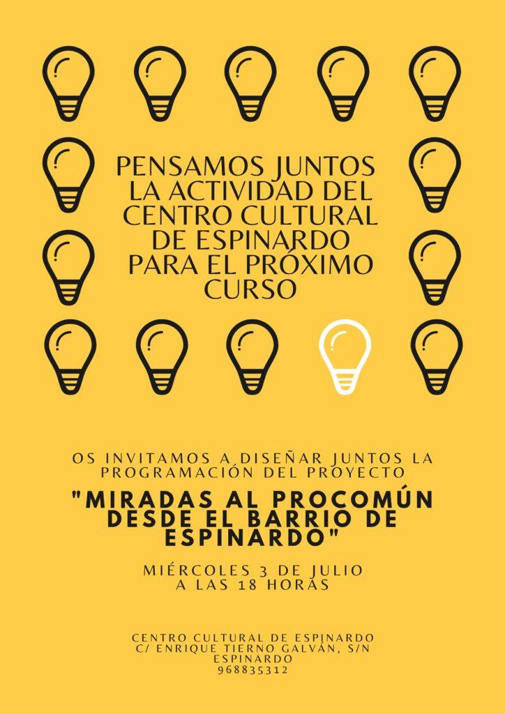 Cartel Invitación ciudadana proyectando la programación del Centro Cultural de Espinardo para 2019-2020.