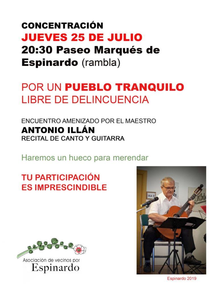 Cartel concentración 25/7/19 contra la delincuencia en Espinardo, organizado por AV por Espinardo.