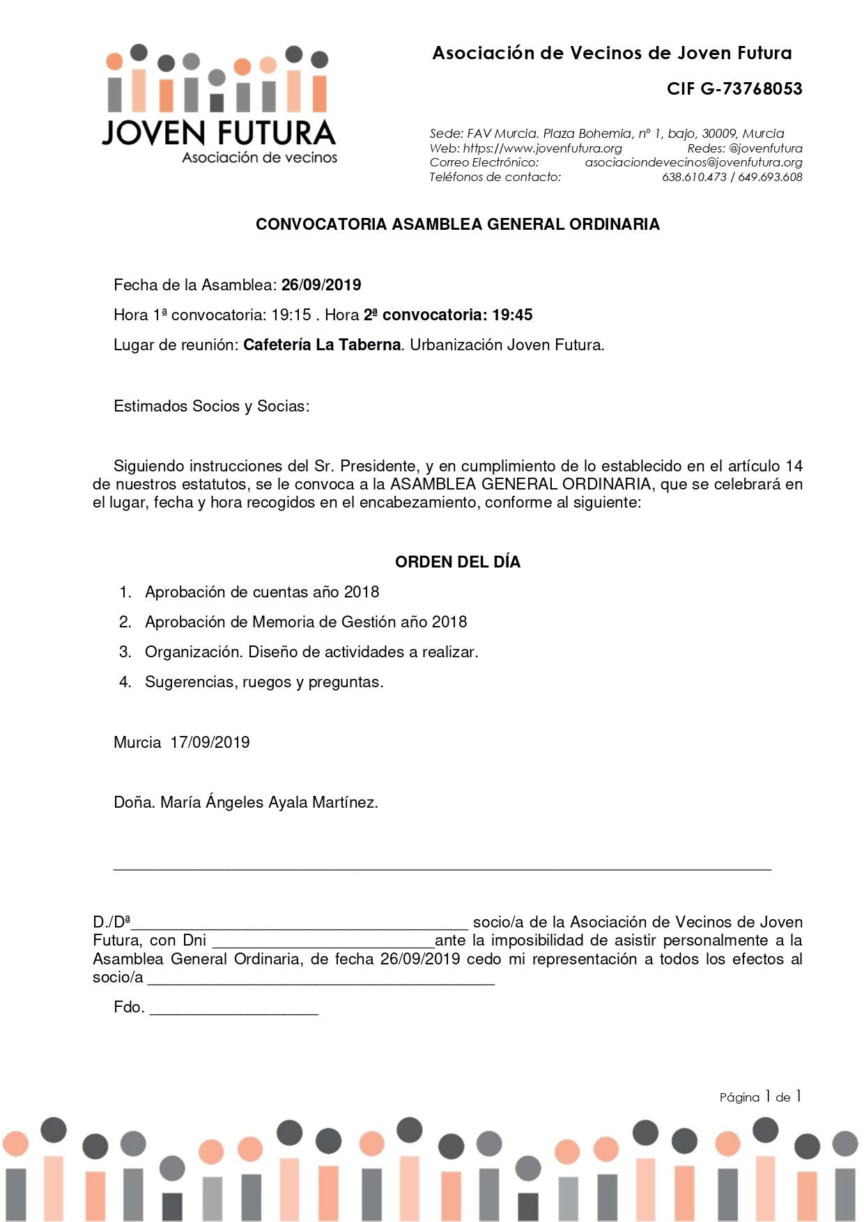 26-09-2019 CONVOCATORIA ASAMBLEA GENERAL ORDINARIA ASOCIACIÓN DE VECINOS DE JOVEN FUTURA