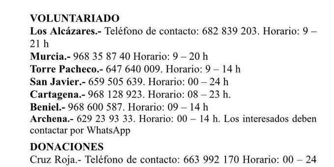 Teléfonos voluntariado #DANARMurcia