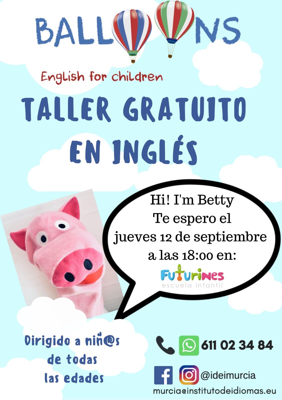 2019-09-12 Cartel Taller Gratuito de Ingles para niños en Futurines