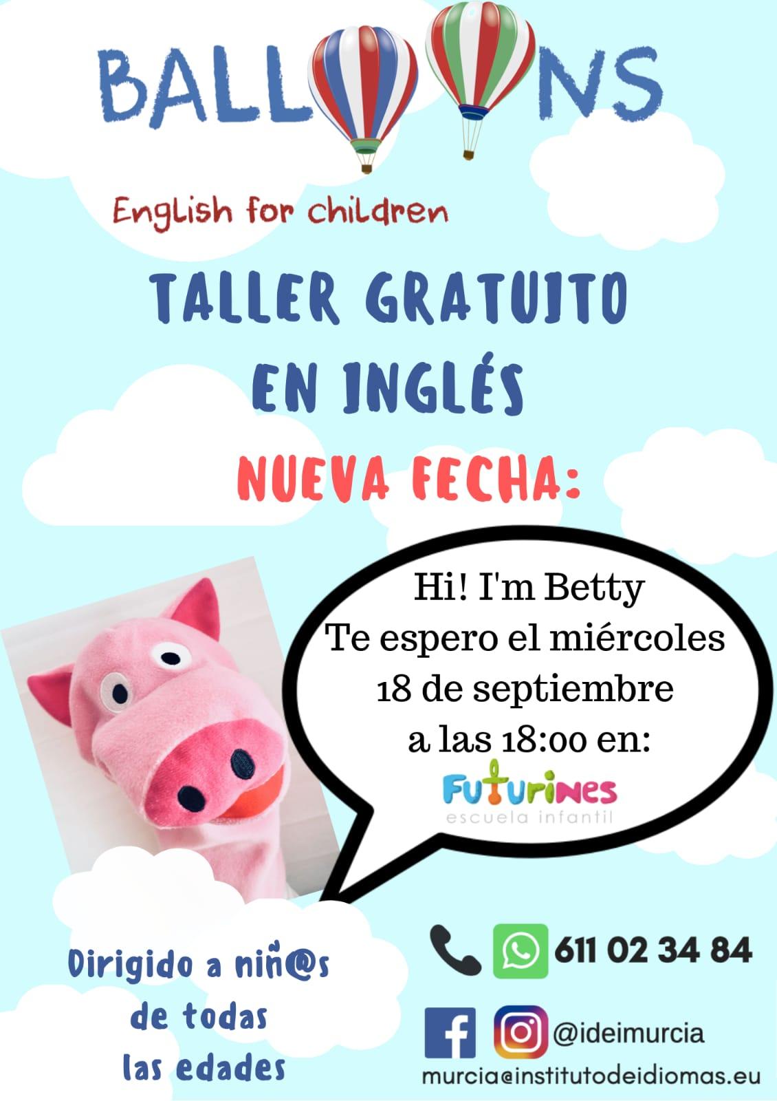 2019-09-18 Cartel Taller Gratuito de Inglés para niños en Futurines