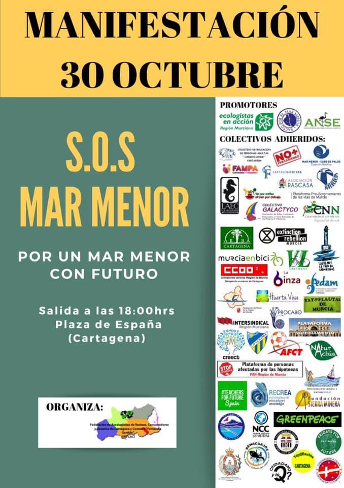 Cartel #SOSMarMenor Manifestación 30/Octubre/2019