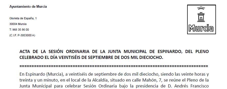 Extracto del Acta 26-09-2018 Junta Municipal Espinardo 0001