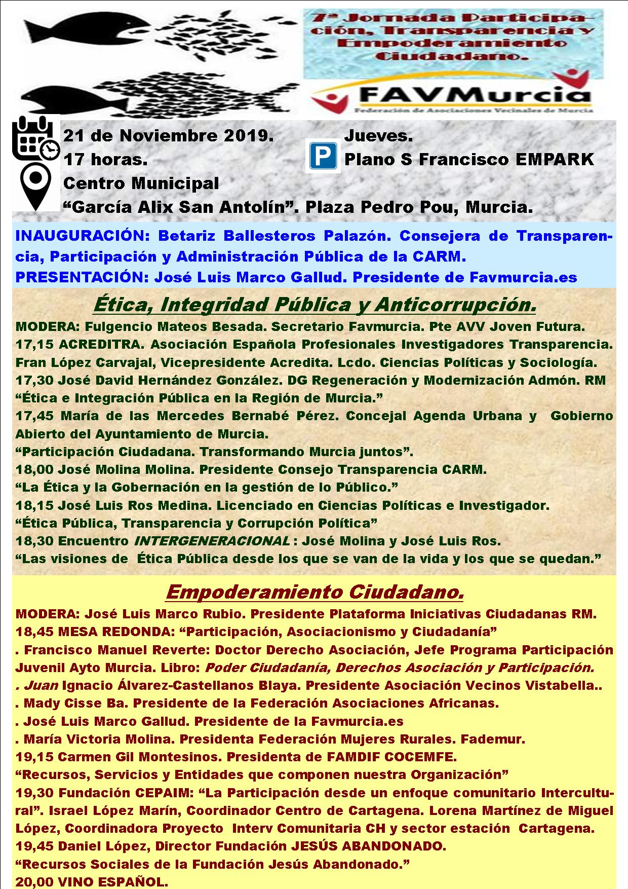 FAV Murcia Programa 7ª Jornada Participación Ciudadana