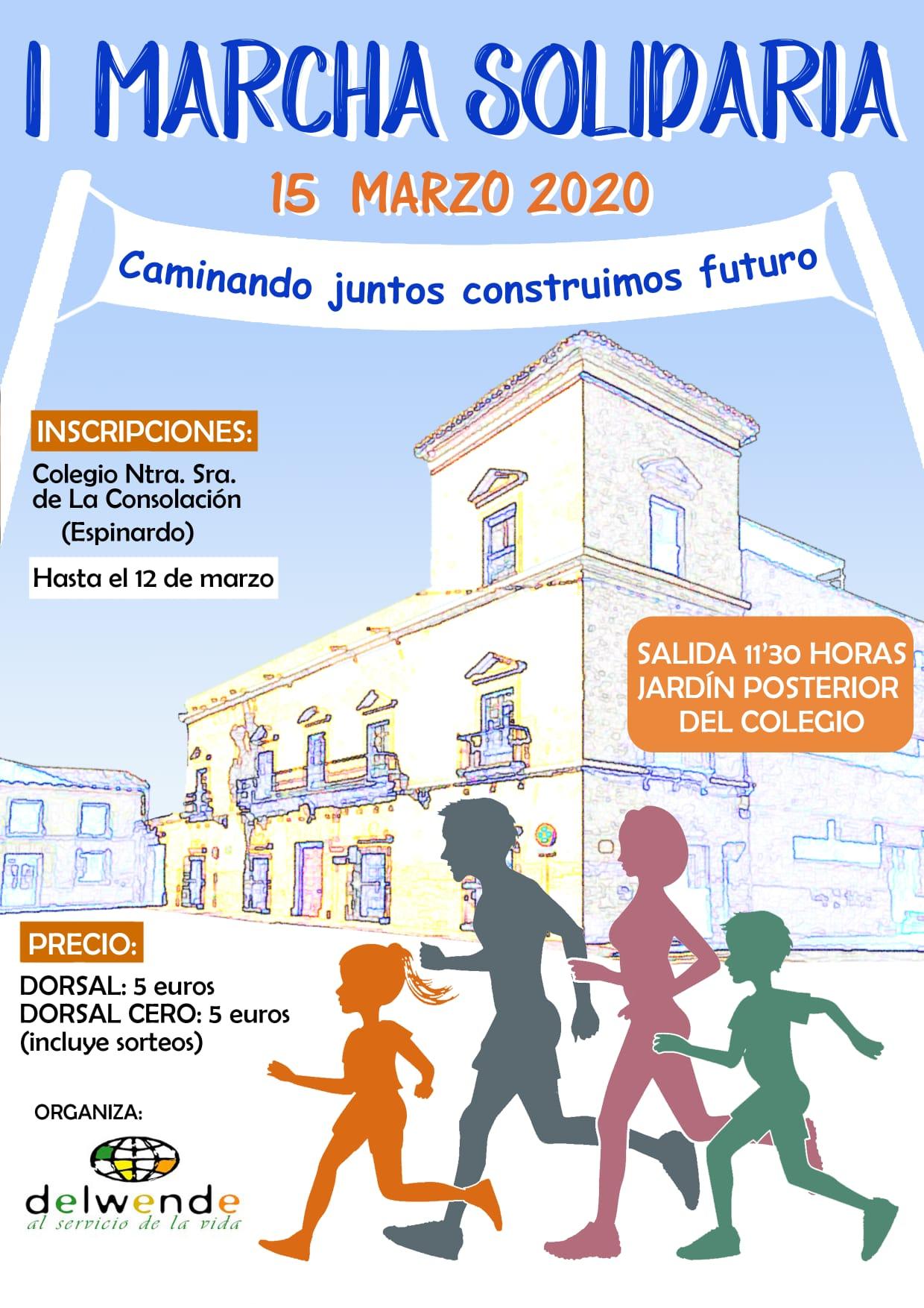 Cartel I Marcha Solidaria juntos construimos futuro.