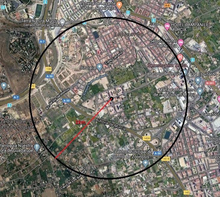 Foto: Circulo con distancia aproximada de 1km desde el centro de Joven Futura