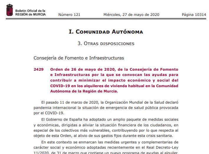 Publicación número 2429 del BORM número 121 de 27/05/2020