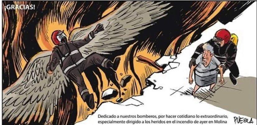 Viñeta del dibujante Puebla dedicada a David, bombero, vecino de Joven Futura