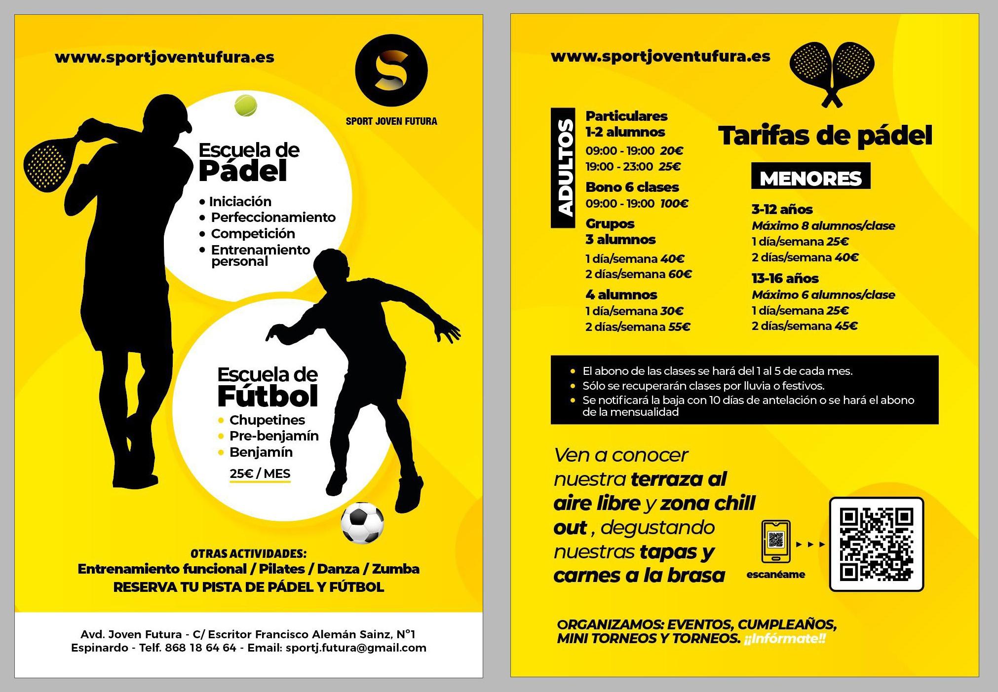 Tarifas Escuela de padel y fútbol en Centro Deportivo Sport Joven Futura 2020-2021