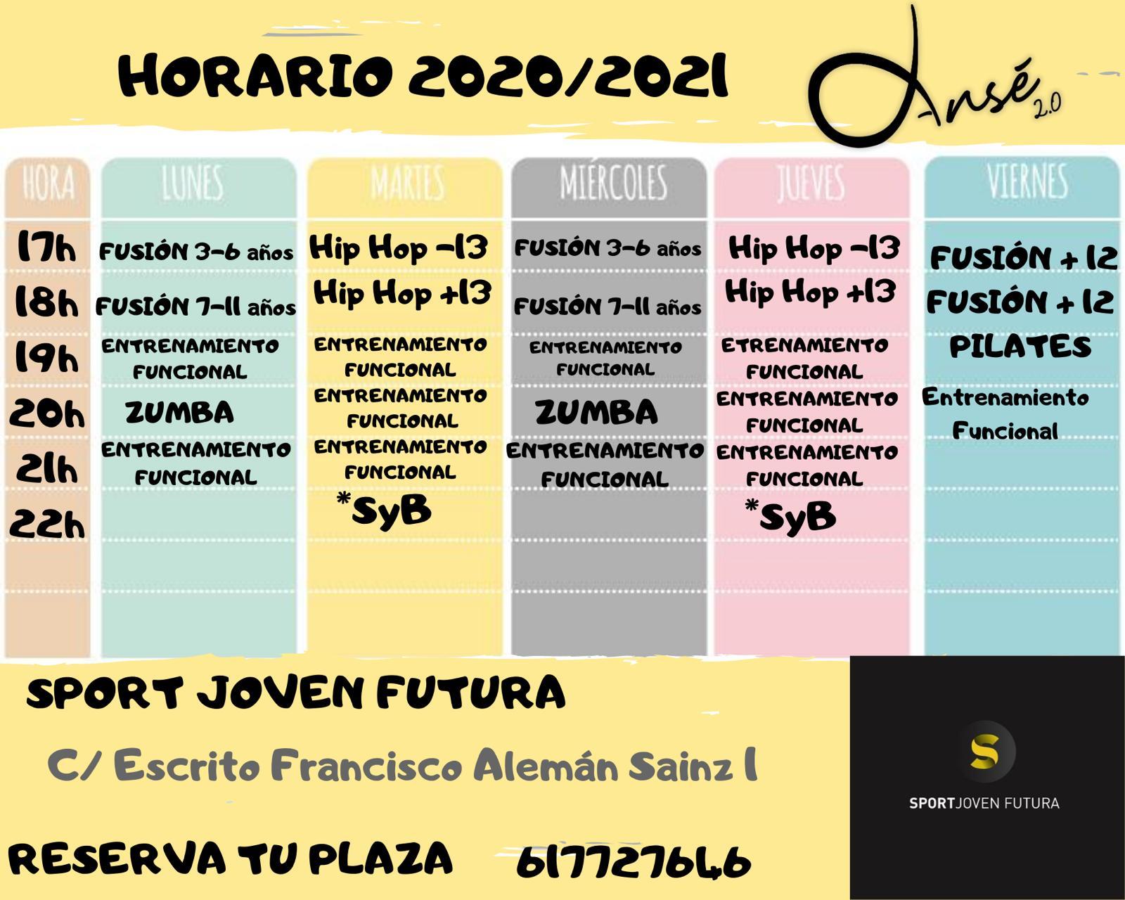 Horario actividades dansé 2.0 en centro deportivo Joven Futura 2020-2021