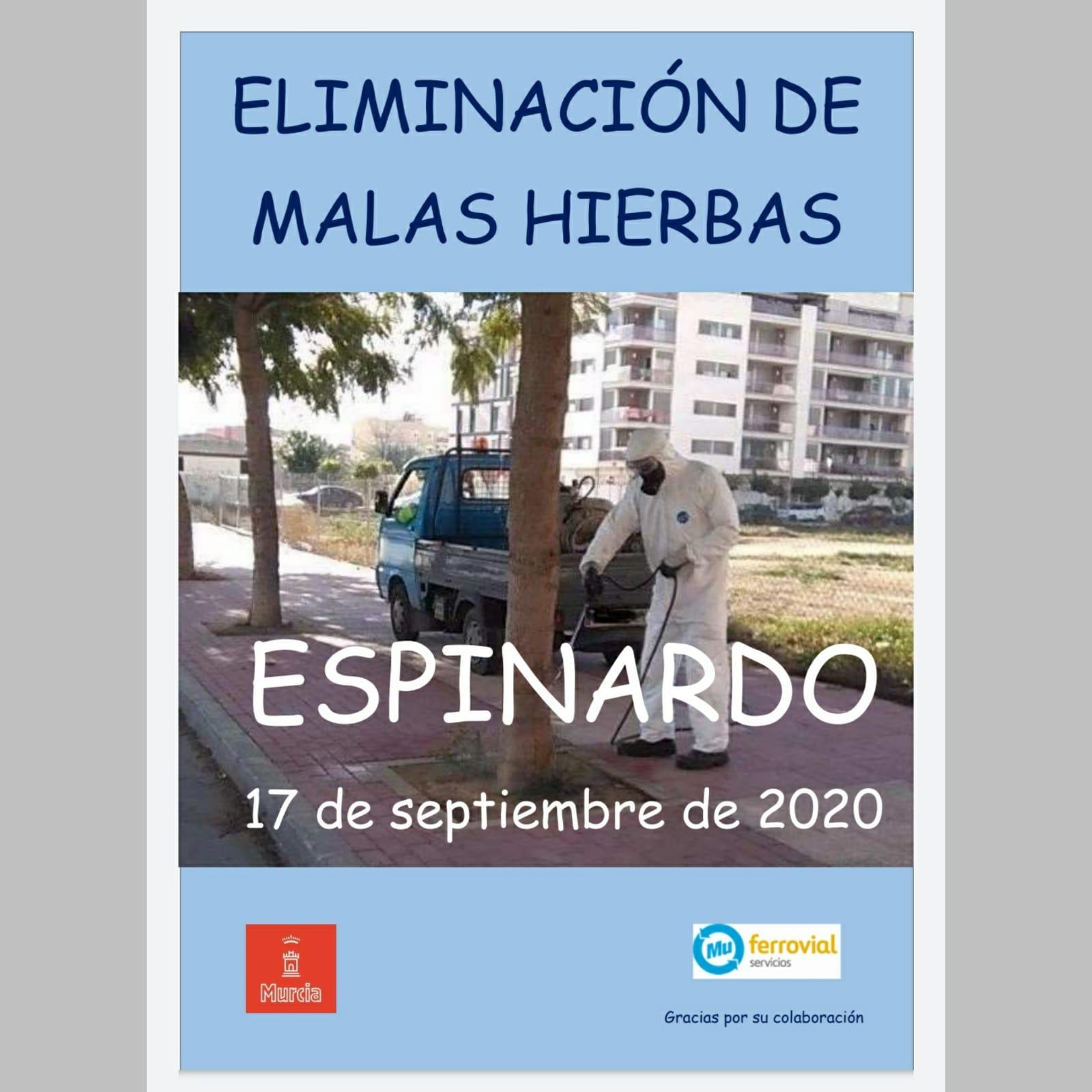 Cartel eliminación malas hierbas 17-09-20 en Espinardo y Joven Futura