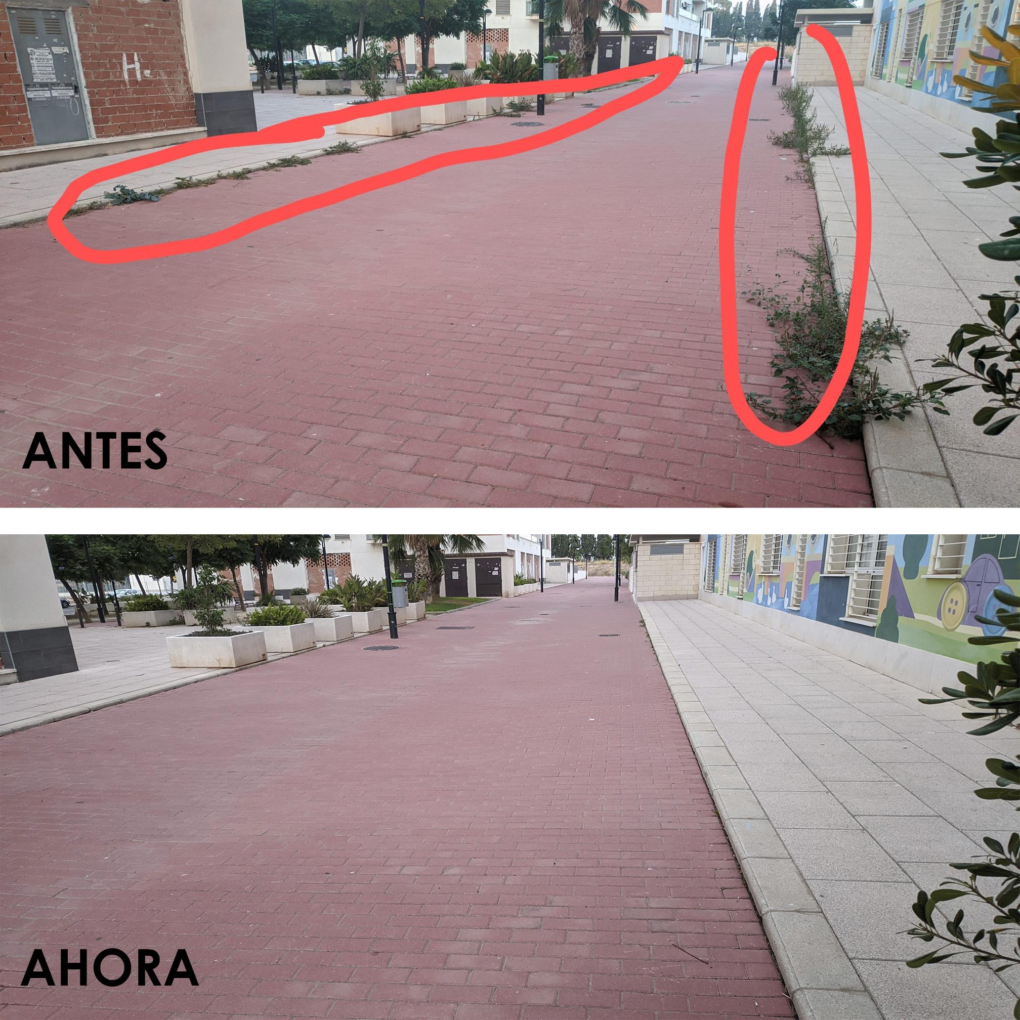 2020-10-08 Limpieza hierbas paseo peatonal Joven Futura junto a Futurines