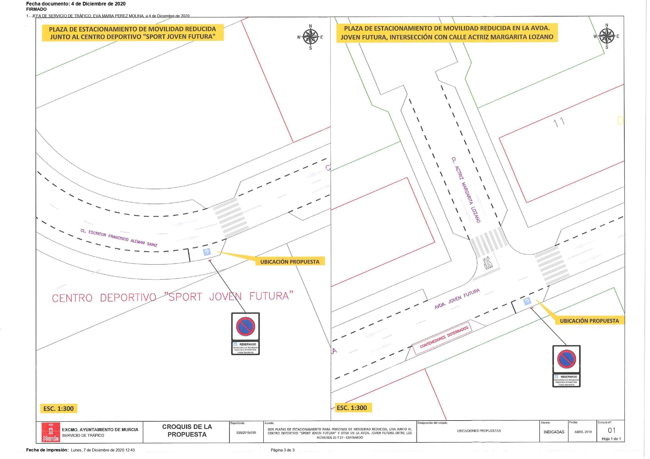 2020-12-07 Plano aportado por el Ayuntamiento de Murcia para la instalación de dos plazas de aparcamiento para personas de movilidad reducida en Joven Futura a petición de la Asociación de Vecinos de Joven Futura