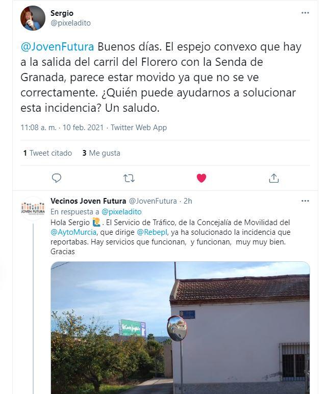 2021-02-11 Arreglo espejo en Senda de Granada gracias al aviso de un tuitero Joven Futura