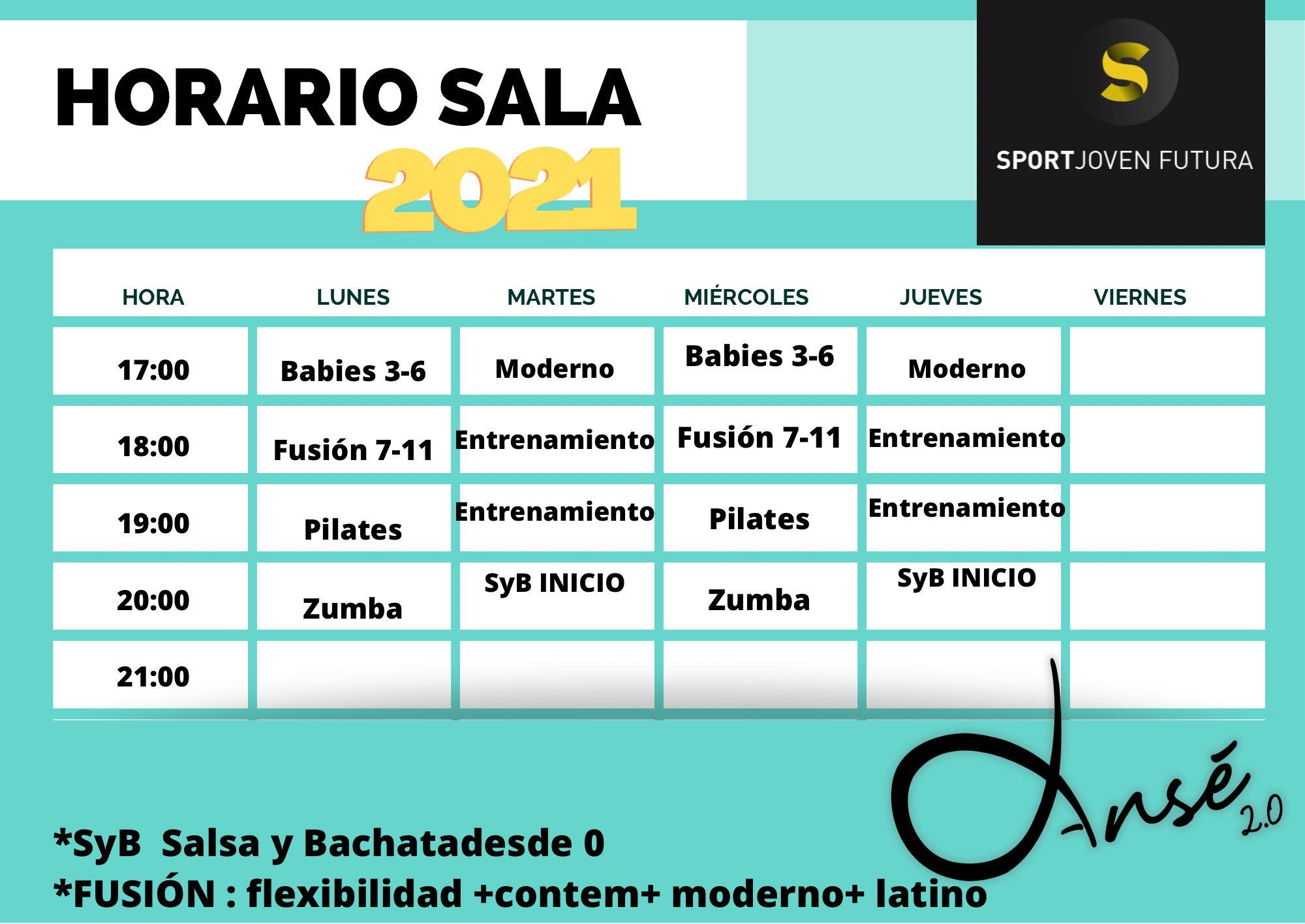 2021-02-23 Horarios Sala Centro Deportivo Sport Joven Futura 2021