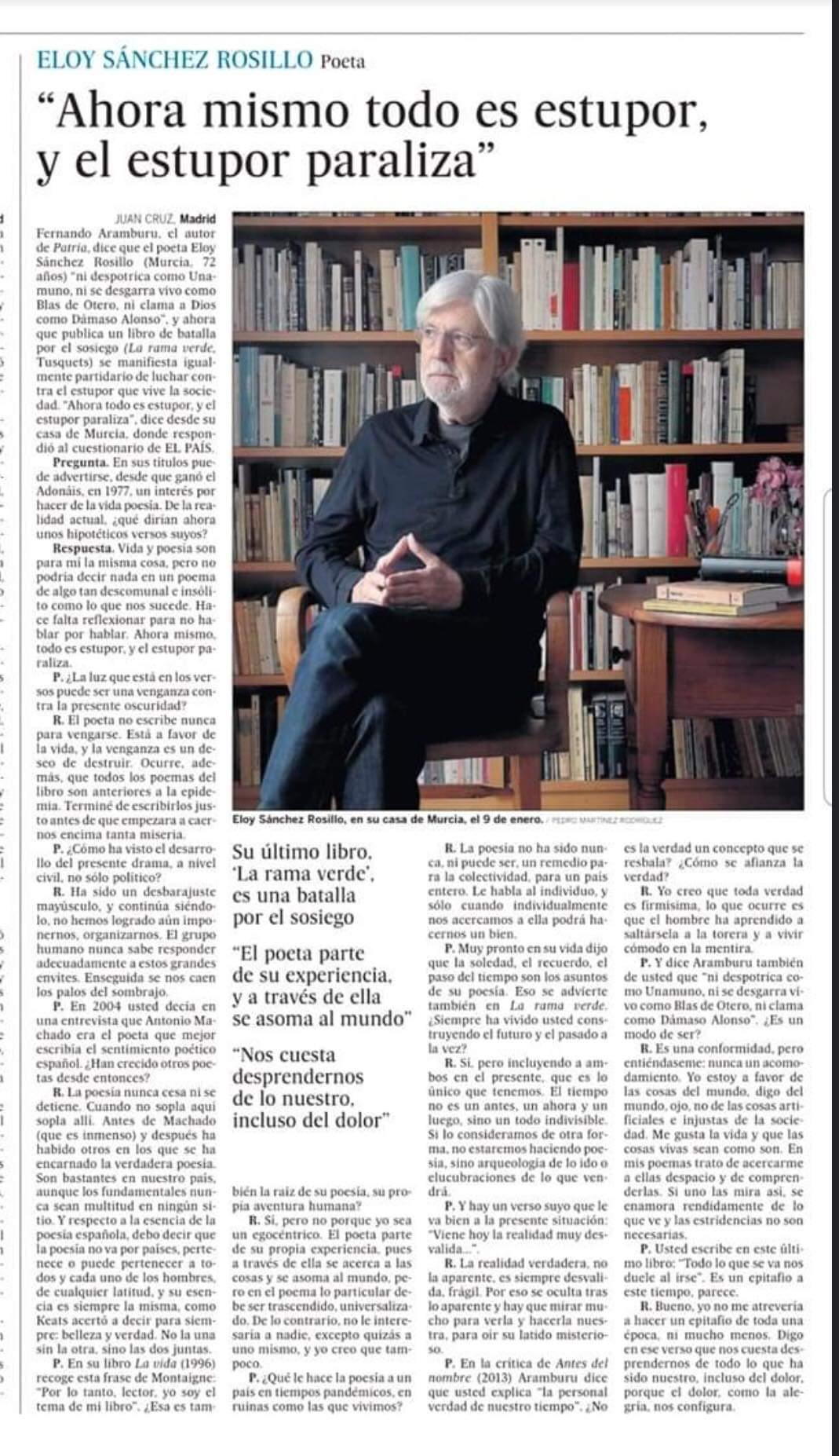 Entrevista Eloy Sánchez Rosillo - El Pais