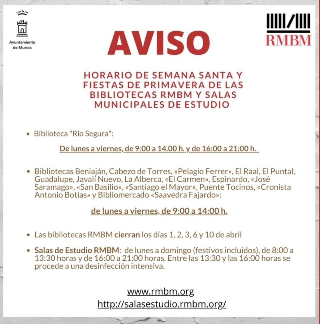 2021-03-26 Horarios bibliotecas y salas de estudio - Espinardo (Zona próxima a Joven Futura)