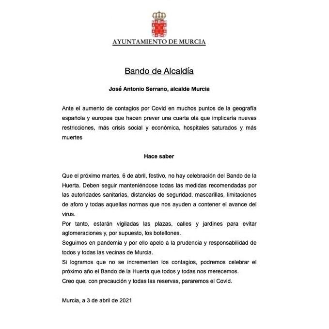 2021-04-03 Bando de Alcaldía sobre el Bando de la Huerta 2021