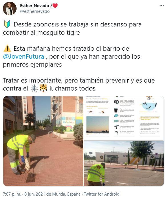 2021-06-08 Fumigación contra mosquito tigre en Joven Futura - Esther Nevado en twitter