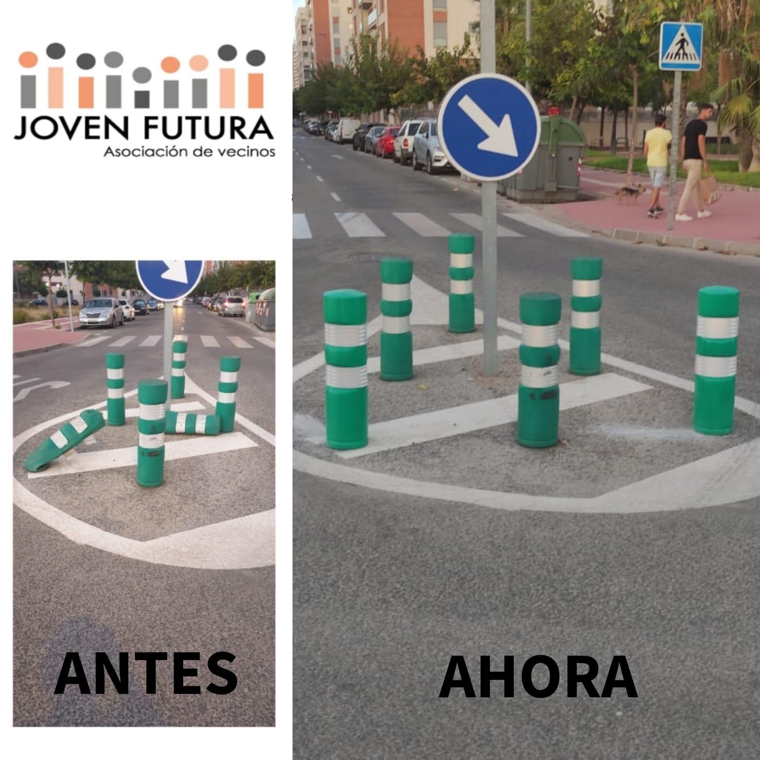 2021-09-06 Pivotes reparados al final de la Avenida Joven Futura