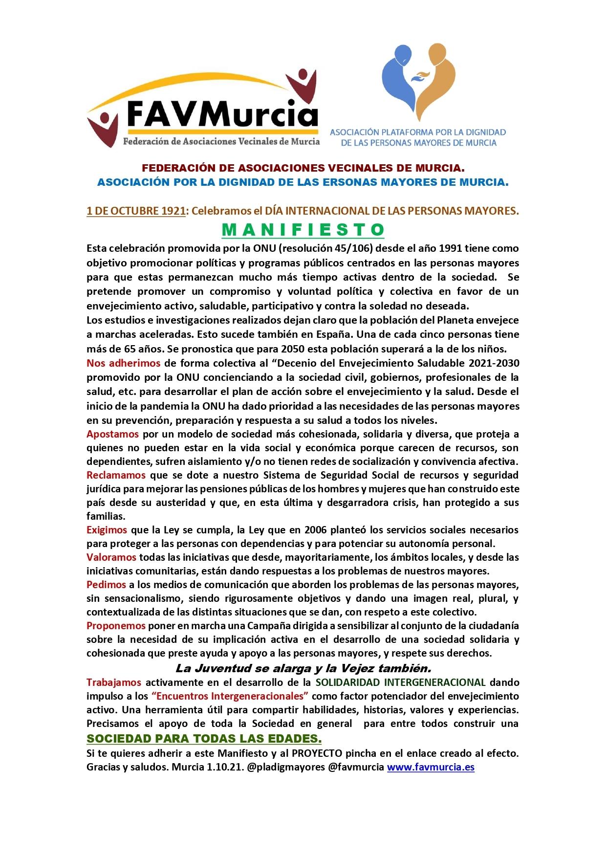2021-10-01 Manifiesto Día Internacional de las Personas Mayores