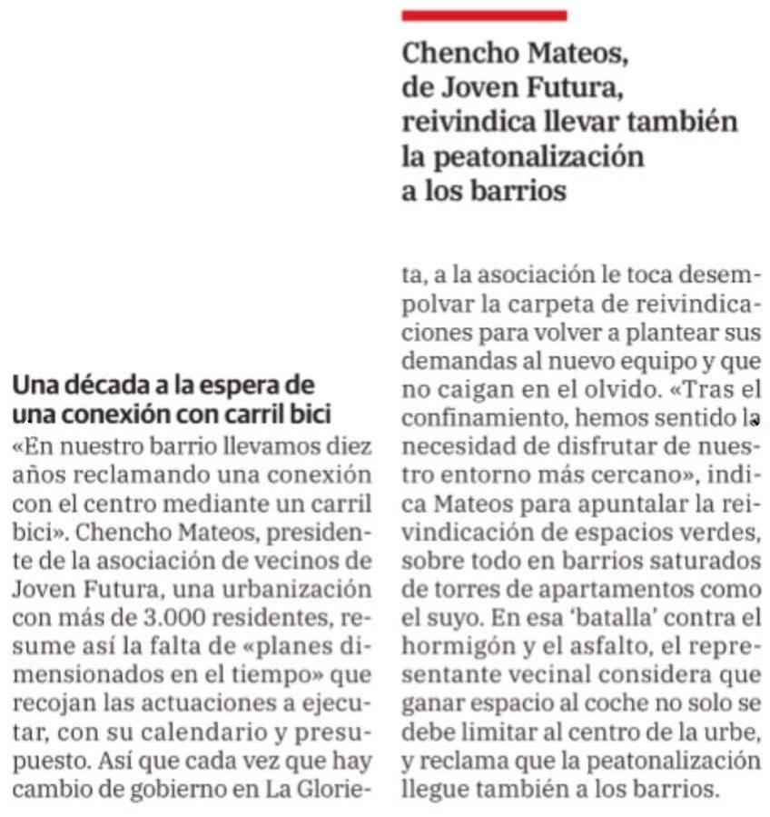2021-10-03 Artículo La Verdad - Chencho reivindica Carril Bici